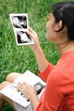 Happy pregnancy with ultrasound scan examination Royalty Free Stock Photos