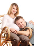 Happy pregnant couple stock images
