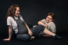 Happy pregnant couple Stock Photos