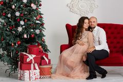 Happy pregnant couple near the Christmas tree.  Stock Photography