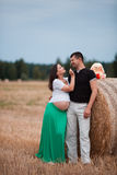 Happy pregnant couple on oat field Stock Photos