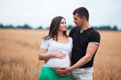Happy pregnant couple on oat field Royalty Free Stock Photo