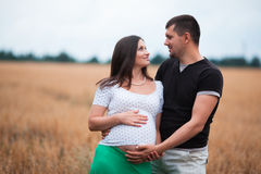 Happy pregnant couple on oat field Royalty Free Stock Photos
