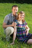 Happy Pregnant Couple outdoor Royalty Free Stock Photography
