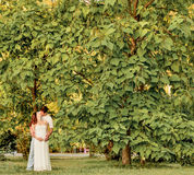 Happy pregnant couple sitting on the banch in park. Happy pregnant couple in the park Royalty Free Stock Photos