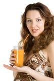 Happy pregnant drink juice Stock Photo