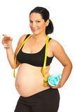 Happy pregnant drinking water Royalty Free Stock Photo