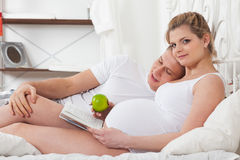 Happy pregnant family. Stock Photo