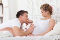 Happy pregnant family Royalty Free Stock Photo