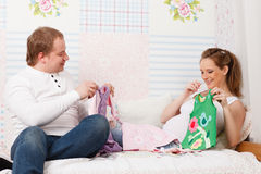 Happy pregnant family. Royalty Free Stock Image
