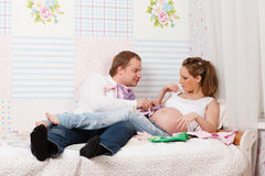 Happy pregnant family. Royalty Free Stock Photography