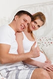 Happy pregnant family Royalty Free Stock Images