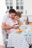 Happy pregnant family and healthy food Royalty Free Stock Image