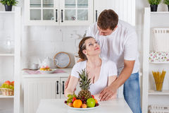 Happy pregnant family and healthy food Royalty Free Stock Photography