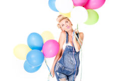 Happy pregnant girl with balloons. Royalty Free Stock Image