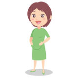 Happy pregnant mother character style vector illustration
