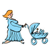 Happy pregnant mother in cyan dress pushing baby boy stroller Stock Images