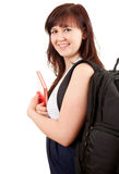 Happy pregnant student girl with black backpack Royalty Free Stock Photography