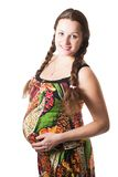 Happy pregnant woman. On white background isolated on white background stock photo