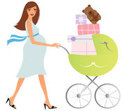 Happy pregnant woman with carriage vector illustration