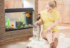 Happy pregnant woman with cat Stock Photography