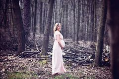 Happy pregnant woman enjoying walk in forest Royalty Free Stock Photography