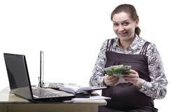 Happy pregnant woman with euro currency royalty free stock photo