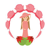 happy pregnant woman flower decoration Royalty Free Stock Images