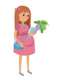 Happy Pregnant Woman with food. Flat Vector Illustration Royalty Free Stock Image
