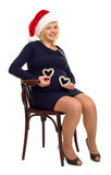 Happy pregnant woman with hearts Royalty Free Stock Photography