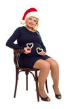 Happy pregnant woman with hearts Stock Images
