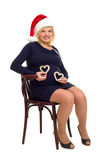 Happy pregnant woman with hearts Royalty Free Stock Photo