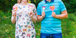 Happy pregnant woman and her husband Stock Photography