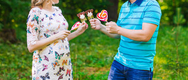 Happy pregnant woman and her husband Royalty Free Stock Photography