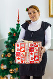 Happy pregnant woman holding a Christmas gift Stock Photos