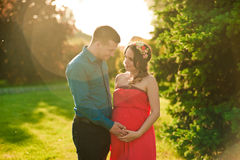 Happy pregnant woman outdoors Stock Photography