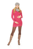 Happy pregnant woman in outerwear Stock Photos