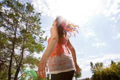 Happy Pregnant Woman in Park Royalty Free Stock Photography