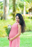 Happy pregnant woman picnic in the park. On green background Royalty Free Stock Photos