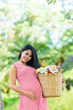 Happy pregnant woman picnic in the park. On green background Stock Photo