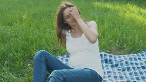 Happy pregnant woman relaxing and enjoying life in nature. stock video