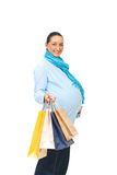 Happy pregnant woman at shopping Royalty Free Stock Images