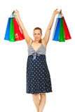 Happy pregnant woman at shopping Royalty Free Stock Photo