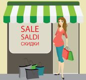 Happy pregnant woman with shopping bags near store. Stock vector illustration Stock Image