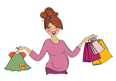 Happy pregnant woman at shopping, isolated on white background Stock Photography