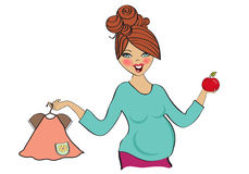 Happy pregnant woman at shopping, isolated on white background Royalty Free Stock Photography