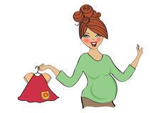 Happy pregnant woman at shopping, isolated on white background Royalty Free Stock Photos