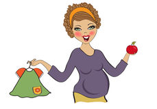 Happy pregnant woman at shopping, isolated on white background Stock Photos