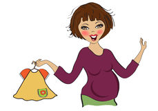 Happy pregnant woman at shopping, isolated on white background Stock Images
