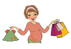 Happy pregnant woman at shopping, isolated on white background Royalty Free Stock Image